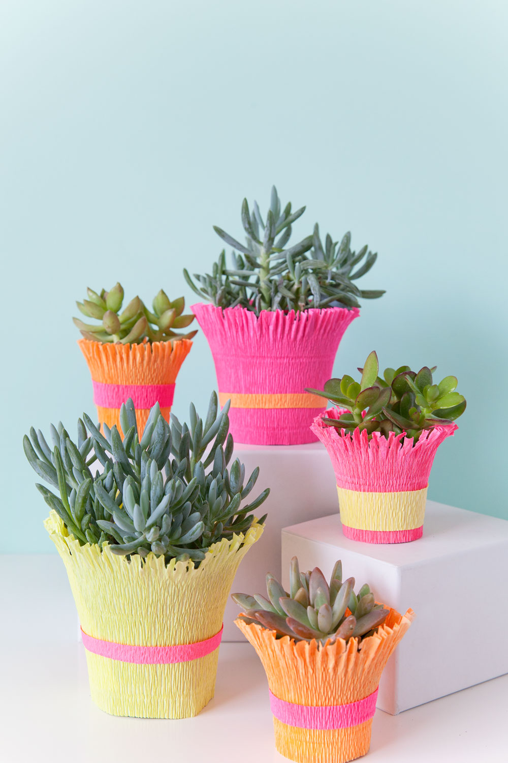 DIY CREPE PAPER WRAPPED POT Tell Love And Party