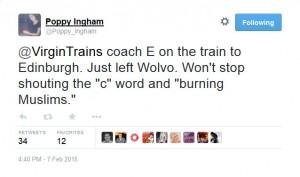 Virgin Trains anti-Muslim