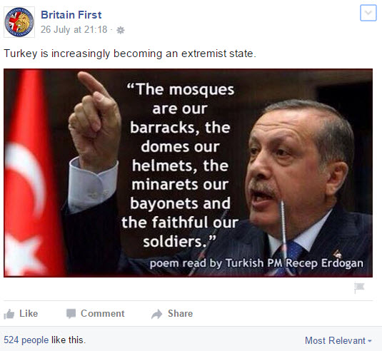 Remember this next time you buy your Kebab (from a Turk), say Britain First Facebook posters