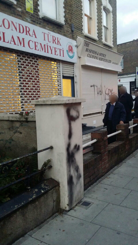 'PKK' graffiti outside the Londra Turk Islam Cemiyeti, Newington Green.