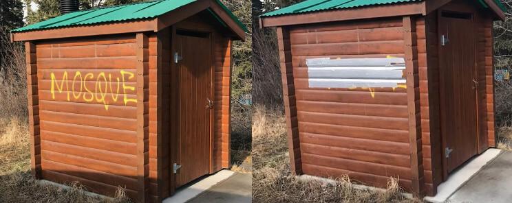 Canadian man covers up anti-Muslim graffiti in Jasper National Park