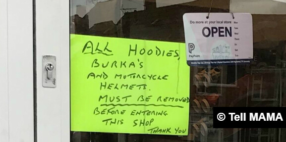 Anti-burqa sign spotted on shop window