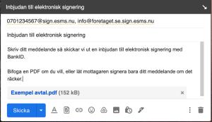Signeringsinbjudan från din mail