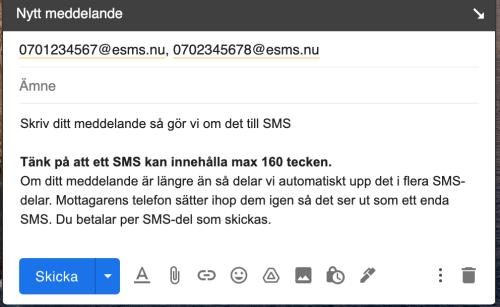Skicka SMS direkt från din mail