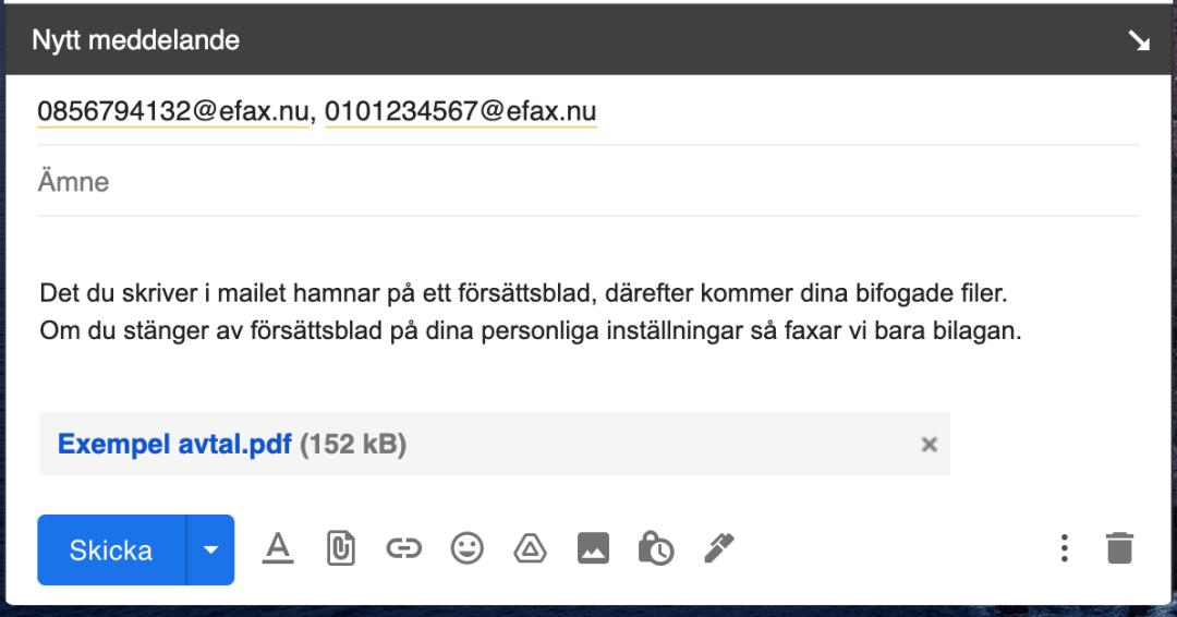 Skicka mail till 2 fax