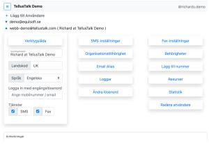 Bild på TellusTalks webbgränssnitt som visar inställningar för användare