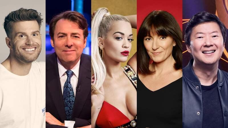 The Masked singer presenter Joel Dommett and judges Jonathan Ross, Rita Ora, Davina McCall and Ken Jeong
