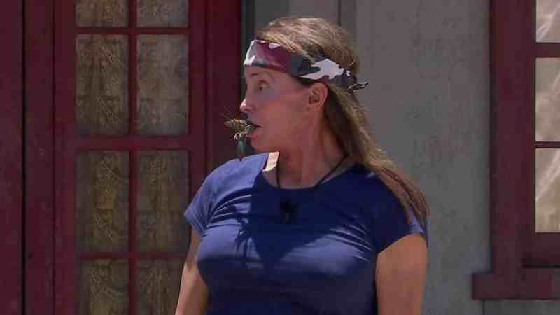I'm A Celebrity 2019: Caitlyn Jenner holds a yabbie in her mouth during Pest Office Bushtucker Trial