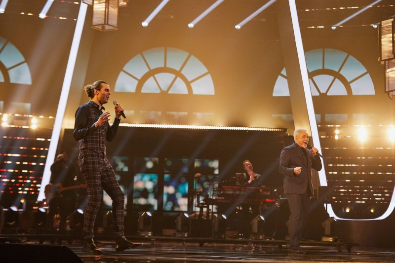 Jonny Brooks and Sir Tom Jones perform. Picture: ITV