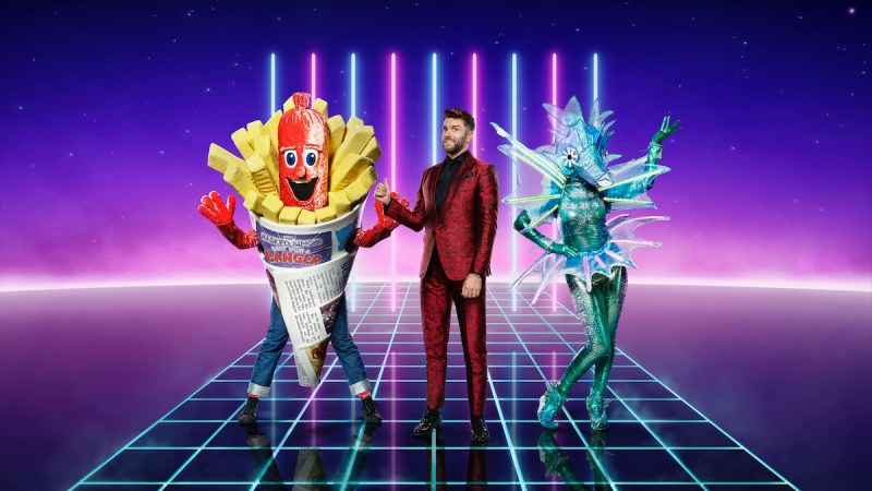 Sausage, Joel Dommett and Sea Horse. Picture: ITV