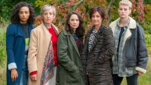 The Pact. Picture Shows: Tish (ABBIE HERN), Nancy (JULIE HESMONDHALGH), Anna (LAURA FRASER), Louie (EIRY THOMAS), Cat (HELEDD GWYN) - (C) Little Door (The Pact) Ltd - Photographer: Warren Orchard