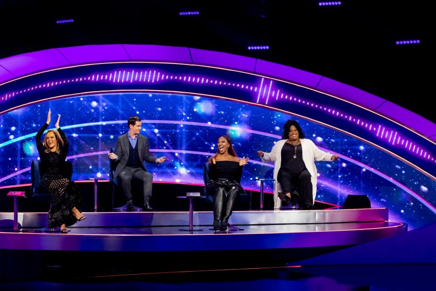 I Can See Your Voice. Picture Shows: Celebrity investigators with special guest Alexandra Burke. Amanda Holden, Jimmy Carr, Alexandra Burke, Alison Hammond - (C) Thames - Photographer: Tom Dymond