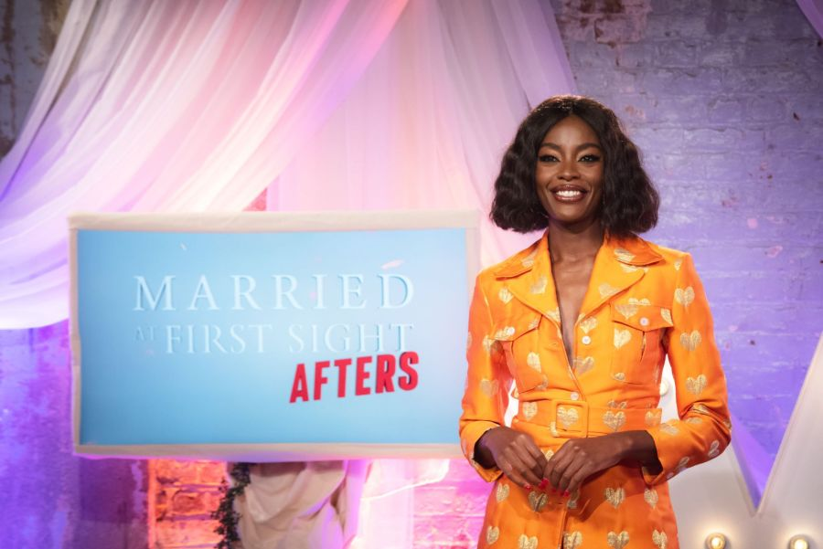 Pictured: Married at First Sight UK: Afters presenter, AJ Odudu.
