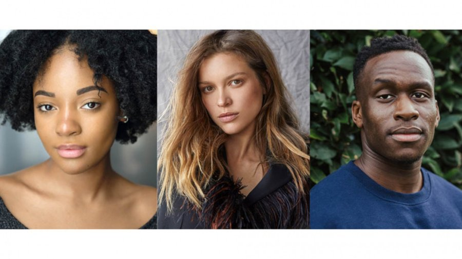 The Confessions of Frannie Langton cast. Left to right: Karla-Simone Spence, Sophie Cookson and Patrick Martins lead the line up. Photo credits (L-R): Kim Hardy, David Reiss and Lucy Nuzum