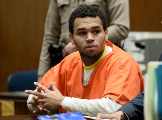 Chris Brown appears in court for a hearing at the Criminal Courts in Los Angeles, May 9, 2014.