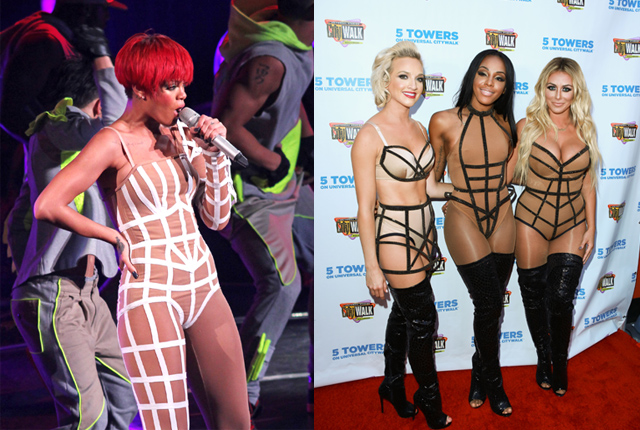 Rihanna's costumes on her 2010 tour included bandage costumes, which Danity Kane also wore this year (before breaking up).