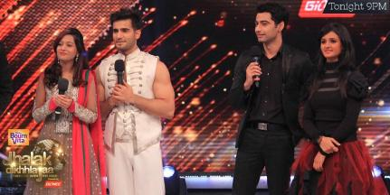 Aliya-Karan and Zain-Shakti on stage interacting with judges