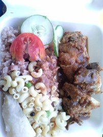 Mama B's Zion Hill junction, fried chicken and rice n peas, tasty sauce