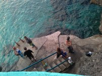 The swimming entry is below the restaurant. I hired snorkel gear and had a nose around