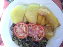 Royal Kitchen breakfast: yam, plantain and callaloo
