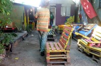 The pallet furniture made by the Life yard team and for sale