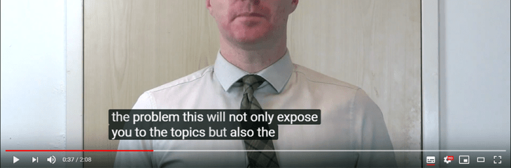 Example of captions displayed on a video.