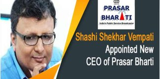 shashi shekhar appointed new CEO of Prasar Bharati