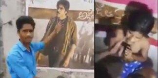 Pawan kalyan fans attacks on who beat agnathavasi poster with Slipper