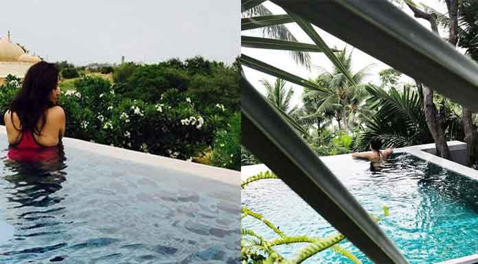 Anasuya post Swimming Pool dress in social media