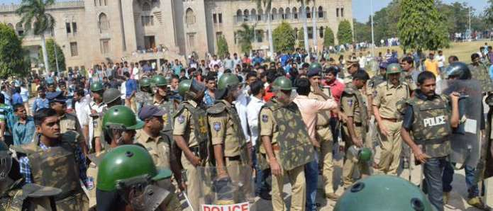 Police bandobast hiked at OU campus in view of 'Chalo Pragati Bhavan' protest today