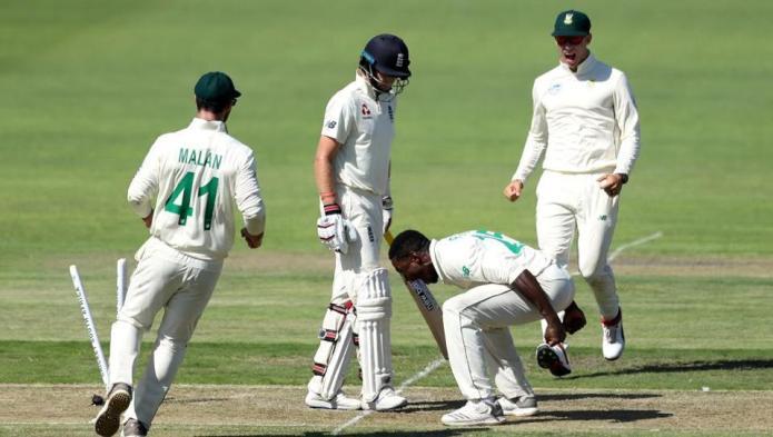 Rabada out of Johannesburg Test for Root dismissal celebration