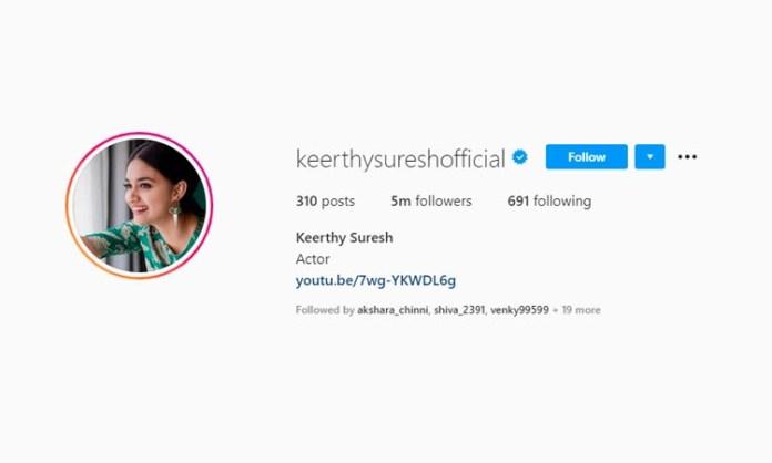 Keerthy Suresh has five million Instagram followers now