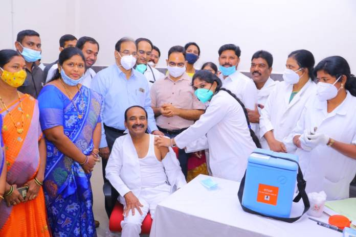 Telangana Health Minister Eatala_Rajender takes first dose of COVID vaccine