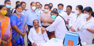 Health Minister Eatala Rajender was among the first to get inoculated with the Covid-19 vaccine (Twitter post)