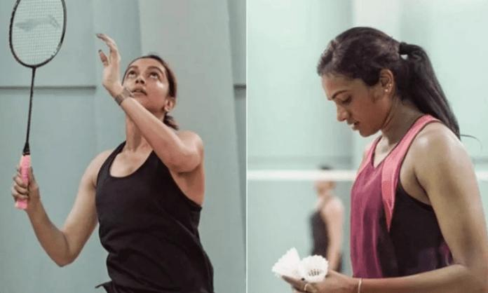 Deepika-Sindhu play badminton, trigger biopic talk