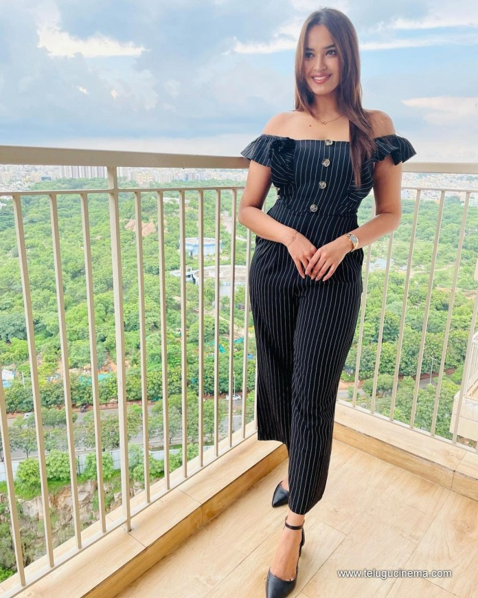 Pujitha Ponnada in a black outfit