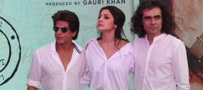 """Mumbai: Actors Shah Rukh Khan and Anushka Sharma and filmmaker Imtiaz Ali during a programme organised to launch """"Hawayein"""", a song from their upcoming film """"Jab Harry Met Sejal"""" in Mumbai, on July 26, 2017."""