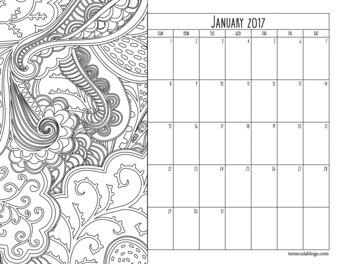 Monthly Calendar · The Typical Mom