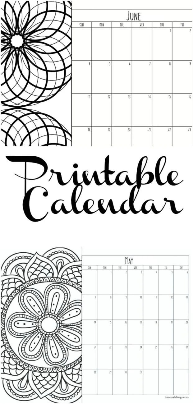 Free Printable Monthly Calendar for Each Year