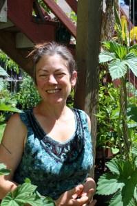 K. Ruby Blume, next to her already tall Cascade hop plant