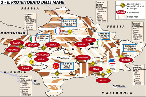 Mafia Clans/KFOR sectors -map made by Laura Canali