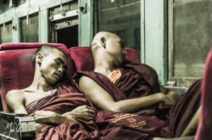 Monks sleeping on Train Burma