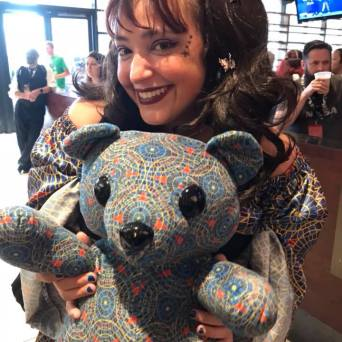 Alethea Kontis with the Marriott carpet bear