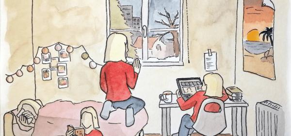 Illustration jeune fille dans sa chambre