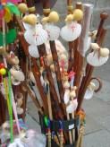 Walking sticks from pilgrims