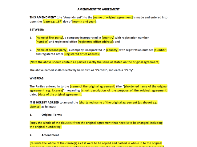 Amendment to Agreement Template  UK Template Agreements and