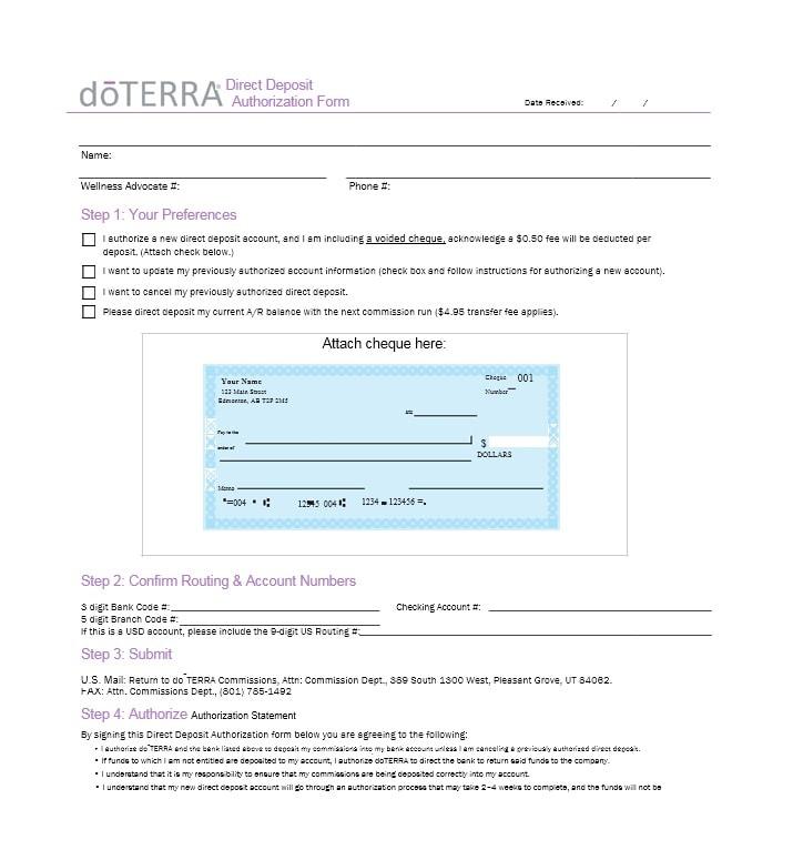doterra direct deposit form us - Beste.globalaffairs.co
