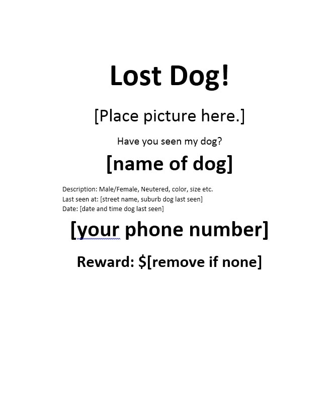 ... 40 Lost Pet Flyers Missing Cat \/ Dog Poster   Template Archive   Lost  Poster ...  Missing Reward Poster Template