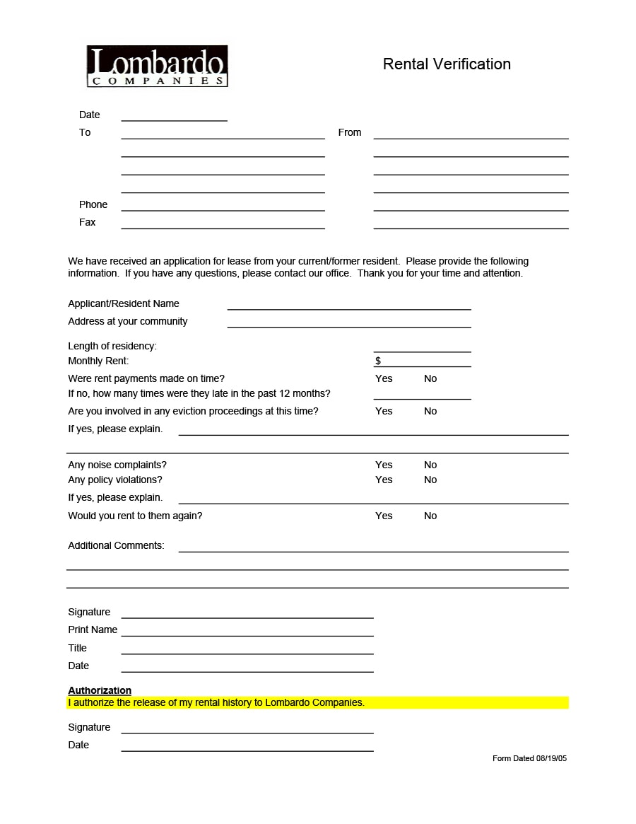 Rental Verification Form 07
