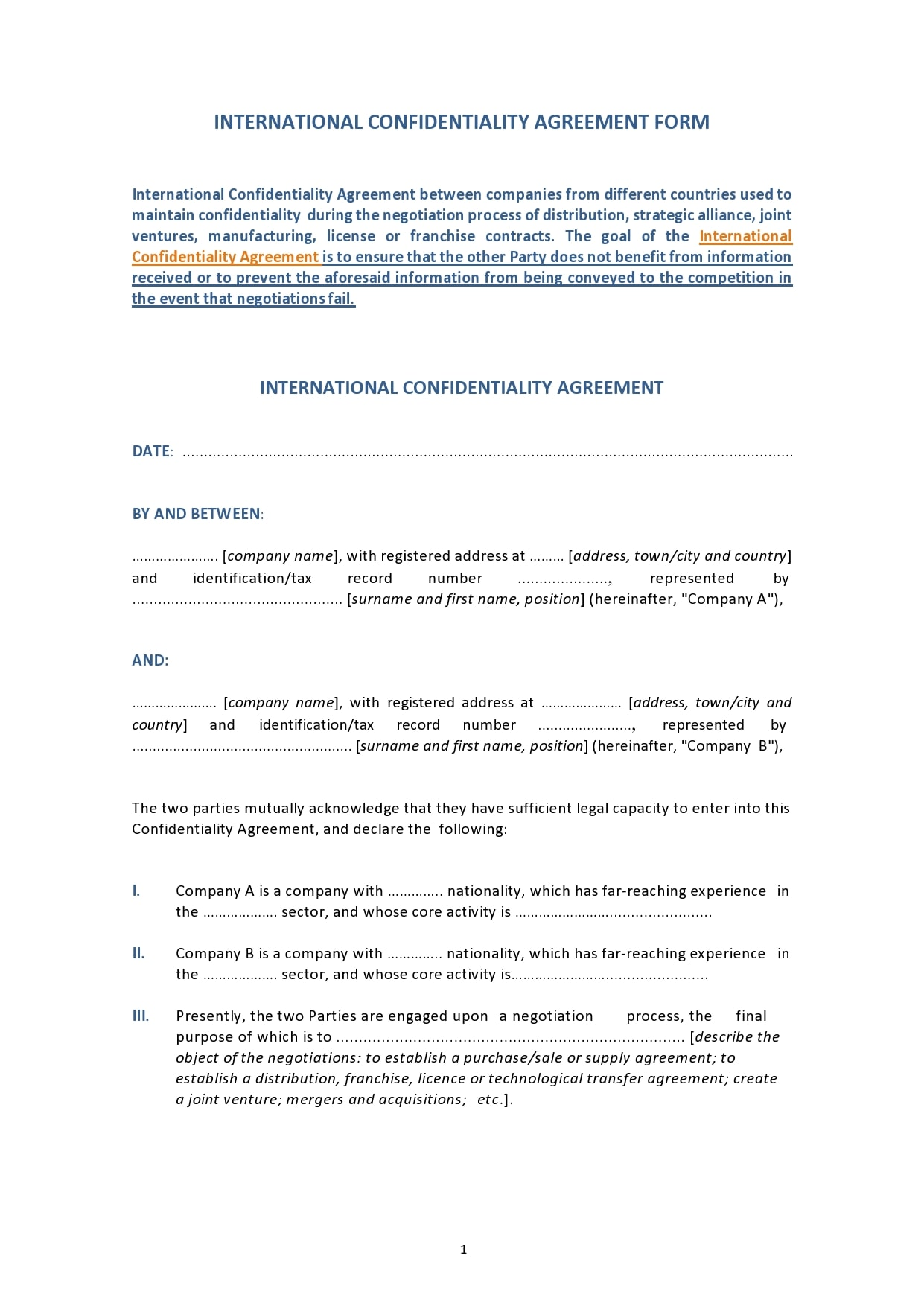 Sample format international non disclosure agreement template excel word pdf doc xls blank tips: 45 Free Confidentiality Agreement Templates Nda Templatearchive